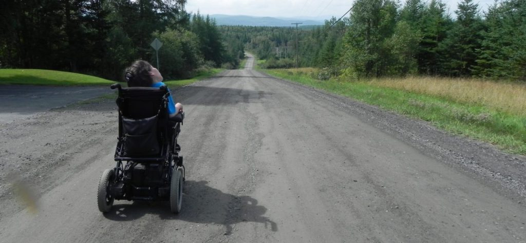 road, country road, searching, wheelchair, journey, path, disability