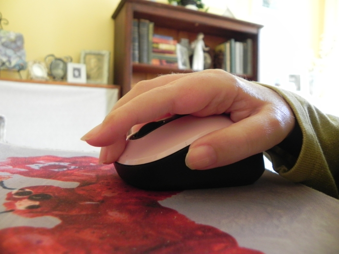 computer mouse, mouse pad, hand, Christina Chase
