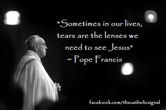 Pope Francis tears