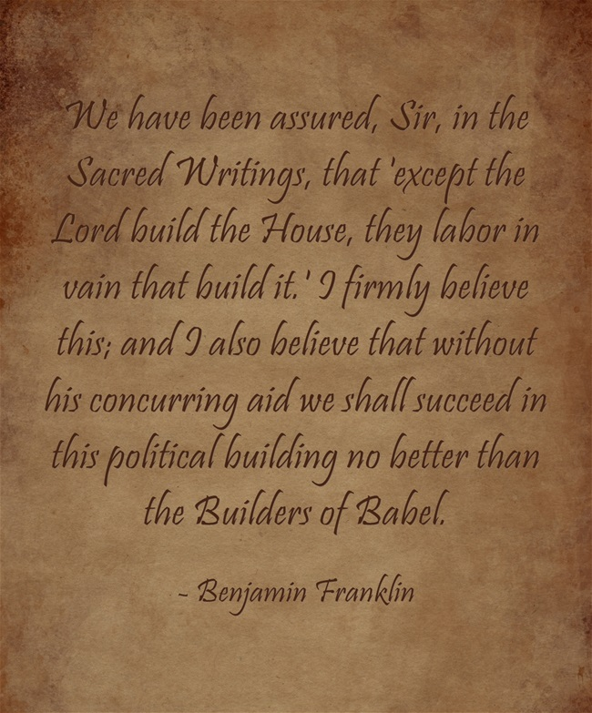 Fourth of July Benjamin Franklin prayer request