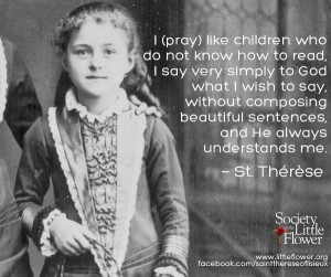 quote Saint Therese pray like children