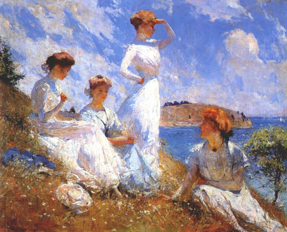 New England, women, seashore, painting