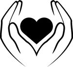 heart in hands black-and-white clipart