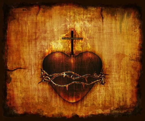 Sacred Heart on wood