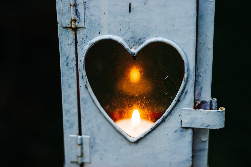 Heart, lamp, candle, Light