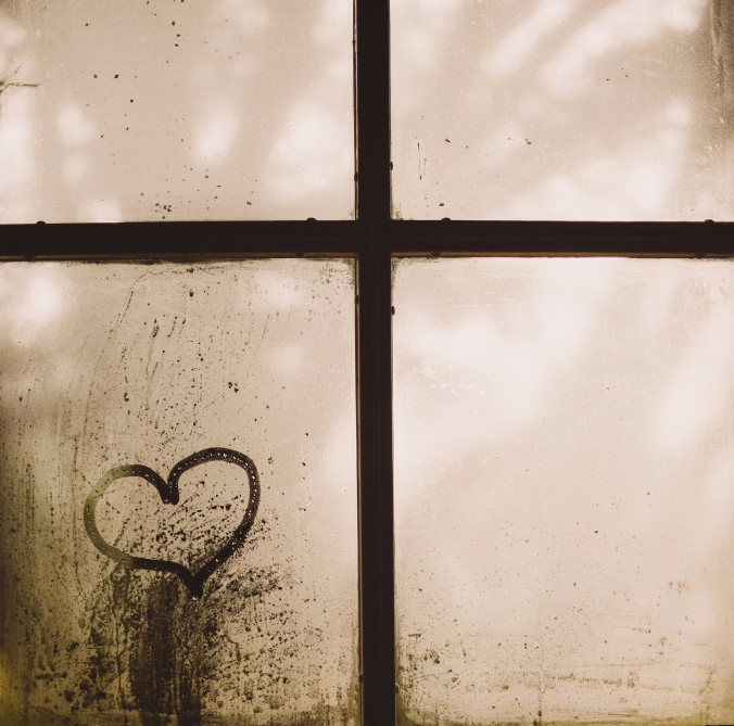 Heart, windowpane, cross