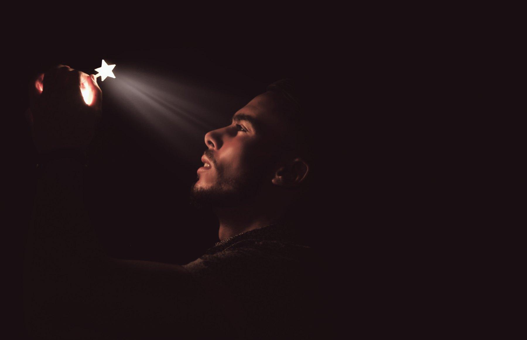 Starlight, illumination, Man, inspiration, hubris