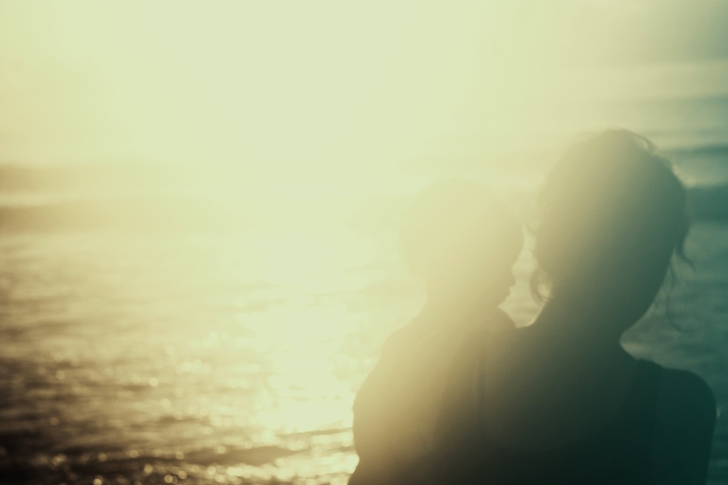 Mother, mother and child, ocean, light