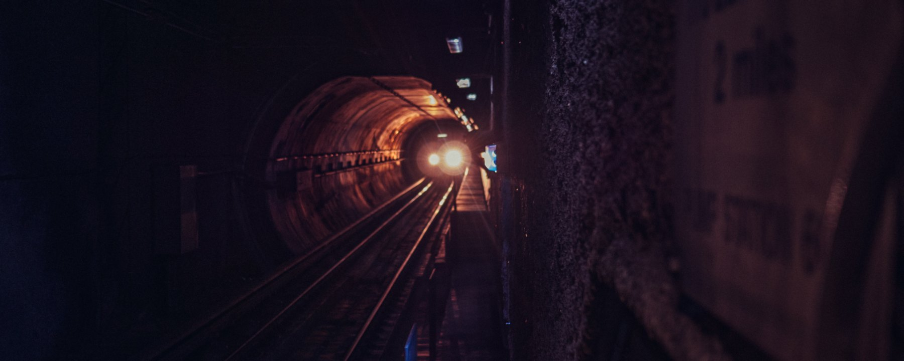 Subway, train, oncoming train, tunnel, headlight