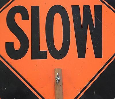 Traffic, slow sign, roadwork