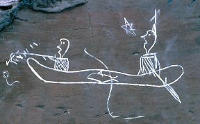 Mi'kmrq petroglyphs canoe hunting
