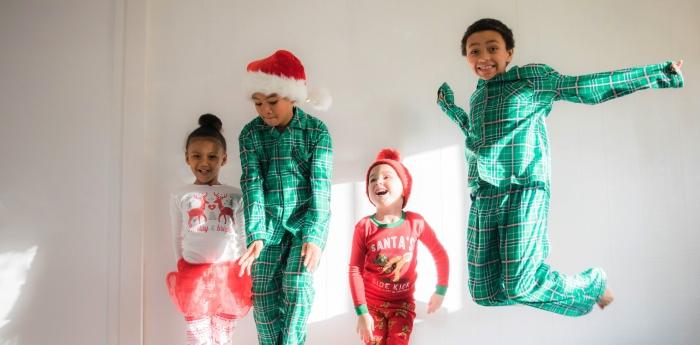 Christmas morning, children, pajamas, Santa
