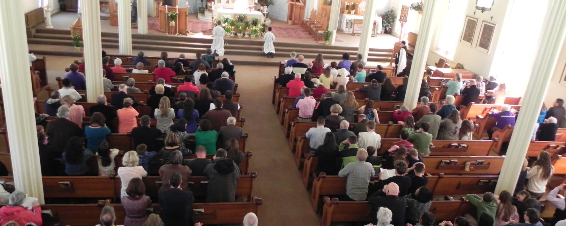 Church, row, worship, congregation, Catholics, pews