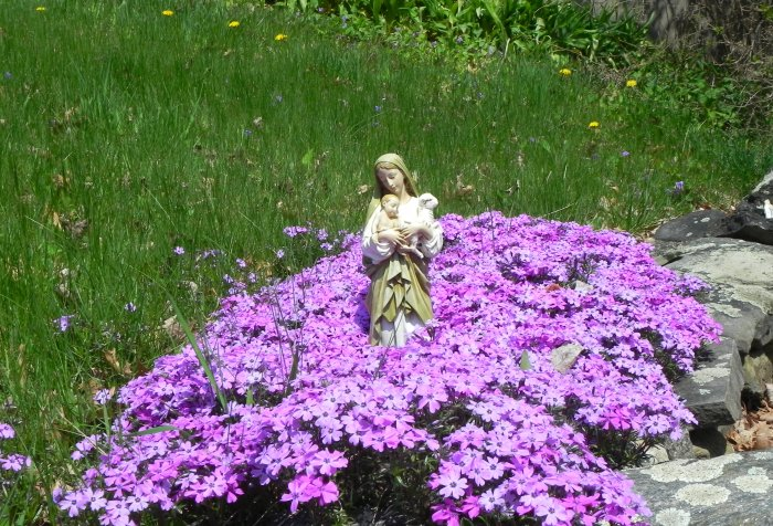 Virgin Mary in a month of May with flowers