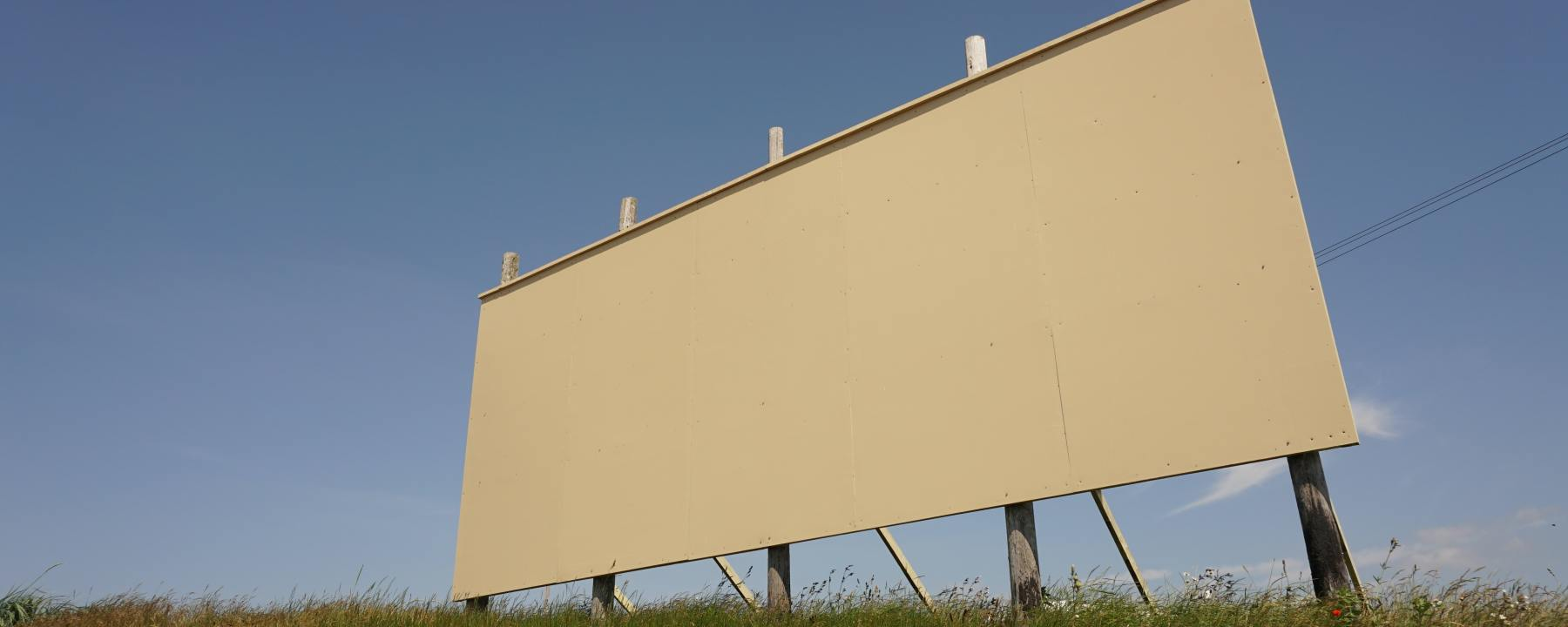 an empty billboard symbolizing a blank canvas or empty page